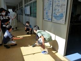 輝度計で日光の強さを測定する受講生たち